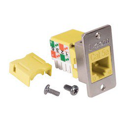 Picture of Cat5e ECF Keystone Jack 110/RJ45 EIA568A/B Yellow