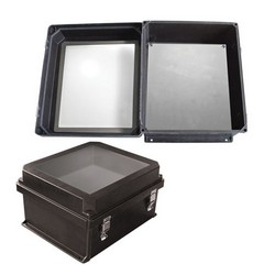 "Picture of 14x12x7"" UL® Listed Black Weatherproof Windowed NEMA 4X Enclosure w/ Blank Starboard Mounting Plate"