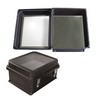 "Picture of 14x12x7"" UL® Listed Black Weatherproof Windowed NEMA 4X Enclosure with Blank Aluminum Mounting Plate"