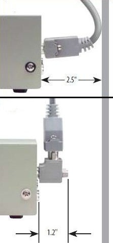 Compare a bent cable to L-com's right angle D-sub adapter