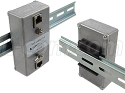 DIN rail mountable lightning protectors