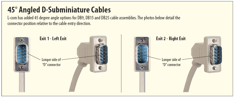 45 Degree D-Subminiature Cable Assemblies