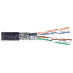 Double shielded twisted pair (STP) cable stripped